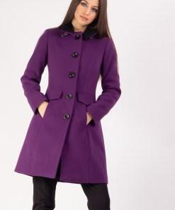 Palton cu blanita la rever mov 36