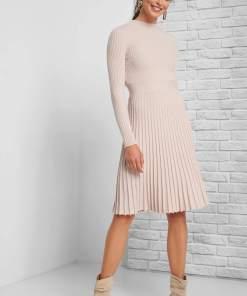 Rochie midi plisată Bej