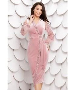 Rochie Morgance roz din catifea cu paiete si maneci din tull