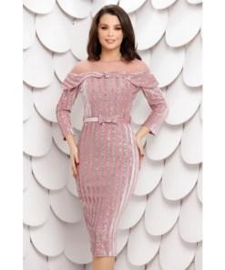 Rochie Chira roz din catifea cu paiete