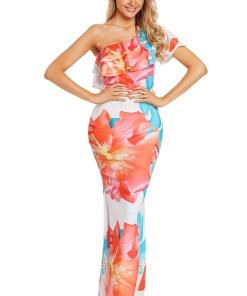 N613-219 Rochie lunga, stil sirena, cu imprimeu floral si volanas