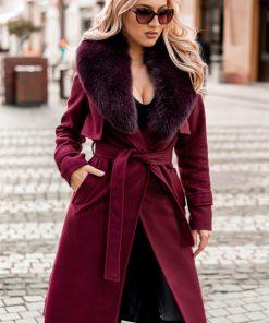 Palton dama bordo lung drept cu guler din blana naturala de vulpe Zain
