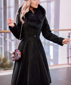 Palton dama negru lung evazat elegant cu guler din blana naturala de vulpe neagra Tione