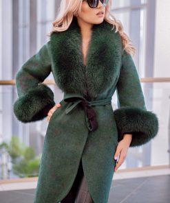 Palton dama verde din lana de alpaca cu guler din blana naturala de vulpe cu par lung Natasha