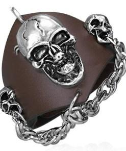Brățară din piele veritabilă – craniu vampir, lanț