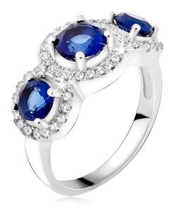 Inel argint 925, cercuri din zirconiu, trei ştrasuri albastre