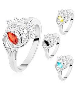 Inel argintiu, bobiță colorată, arce din zirconii transparente - Marime inel: 54, Culoare: Portocaliu