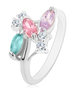 Inel argintiu, bobițe din zirconii colorate și zirconii transparente