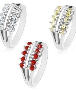 Inel argintiu, brațe bifurcate, două linii de zirconii strălucitoare - Marime inel: 50, Culoare: Transparent
