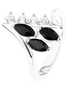 Inel argintiu, brațe cu capete îndoite, zirconii negre și transparente