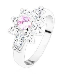 Inel argintiu, floare strălucitoare din zirconii transparente și violet-deschis