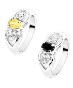 Inel argintiu, fundiță cu oval colorat și zirconii transparente, Culoare: Galben
