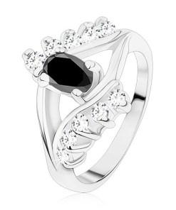 Inel argintiu, linii netede și cu zirconii, oval negru