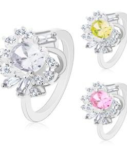 Inel argintiu, oval mare șlefuit, zirconii rotunde și alungite - Marime inel: 48, Culoare: Roz