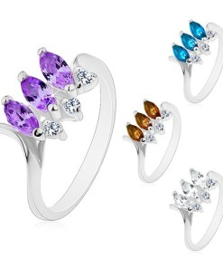 Inel argintiu, trei bobițe colorate, șlefuite, brațe îndoite lucioase - Marime inel: 48, Culoare: Transparent