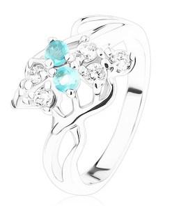 Inel argintiu, zirconii transparente și acvamarin, onduleuri - Marime inel: 53