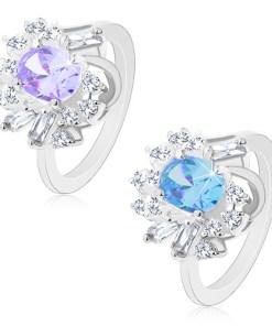 Inel argintiu, zirconiu mare oval, zirconii rotunde și alungite - Marime inel: 50, Culoare: Mov Deschis