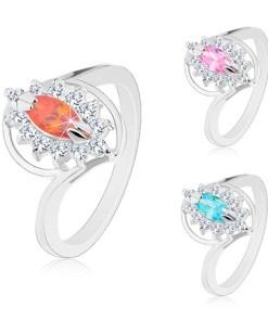 Inel argintiu, zirconiu șlefuit în formă de bobiță, margine transparentă, Culoare: Roz