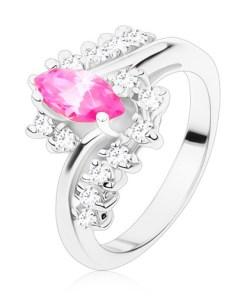 Inel de culoare argintie cu zirconiu roz în formă de bob și zirconii transparente, brațe curbate