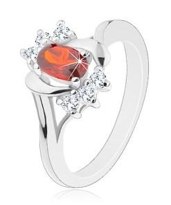 Inel de culoare argintie, zirconiu roz închis, zirconii transparente, arcade lucioase - Marime inel: 50