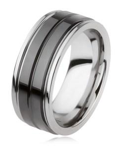 Inel din tungsten cu suprafaţă neagră lucioasă şi crestătură, argintiu