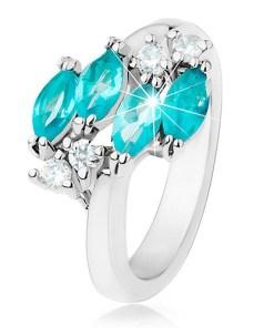 Inel lucios argintiu, bobițe din zirconiu albastru, zirconii transparente
