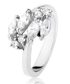 Inel lucios argintiu, bobițe transparente și zirconii rotunde