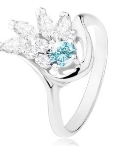 Inel lucios argintiu, evantai din zirconii transparente, zirconiu albastru deschis