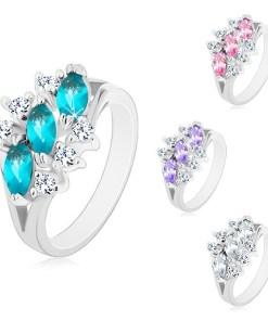 Inel lucios in nuanta argintie, trei zirconii in forma de bob, zirconii transparente, Culoare: Ametist Deschis
