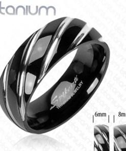 Inel realizat din titan,de culoare neagră - crestături înguste,teşite în nuanţă argintie