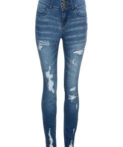 Bonprix Jeans cu talie inalta efect distrus - albastru stone