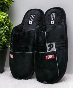 Papuci de casa barbati negri Denalo-rl