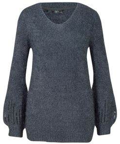 Bonprix Pulover tricotat, cu decolteu rotund - bleumarin