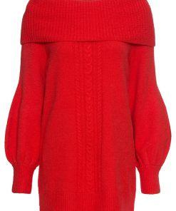 Bonprix Pulover tricotat, cu guler larg - rosu-capsuna
