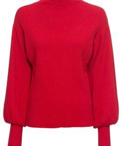 Bonprix Pulover tricotat cu maneci tip balon - rosu inchis
