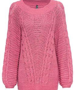 Bonprix Pulover tricotat grob - roz pastel