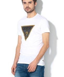 Tricou slim fit din amestec de modal - cu imprimeu logo - 2394928