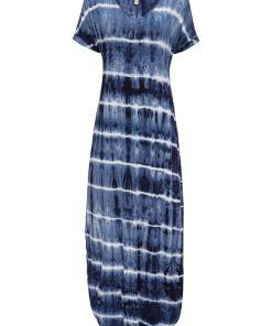 Bonprix Rochie maxi - albastru denim-alb cu model