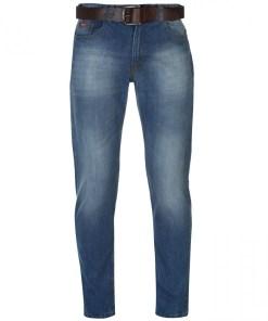 Blugi drepti Lee Cooper PU Belted Jeans Mens