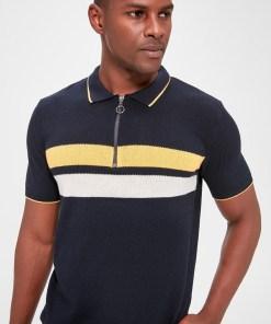 Tricou polo Trendyol Navy Blue Men's Stripe Knitwear Sweater