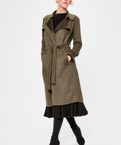 Trenci Trendyol Khaki Arched Suede Trench Coat