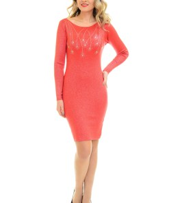 Rochie Tricotata Crystal Drops Red
