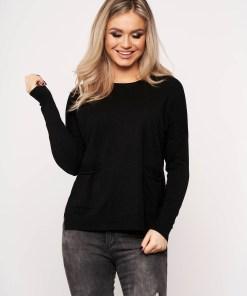Bluza dama SunShine neagra casual din tricot subtire cu buzunare in fata cu guler rotunjit