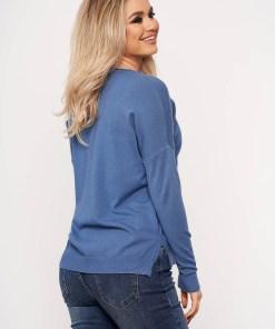 Bluza dama SunShine albastra casual din tricot subtire cu buzunare in fata cu guler rotunjit