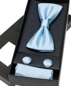 Set pentru barbat papion, butoni, batista albastra-deschis Bolf MSP01