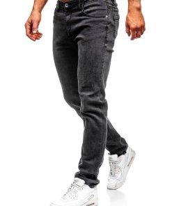 Blugi negri straight leg Bolf KA1063