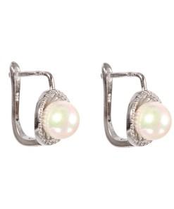 Cercei argint pearl cu inchizatoare englezeasca