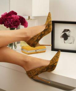 Pantofi stiletto Pears Galbeni