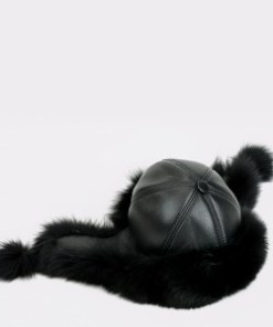 Caciula KLOP neagra, Zimuska, din piele naturala