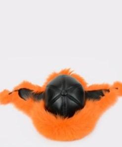 Caciula KLOP portocalie, ZIMUSKA, din piele naturala